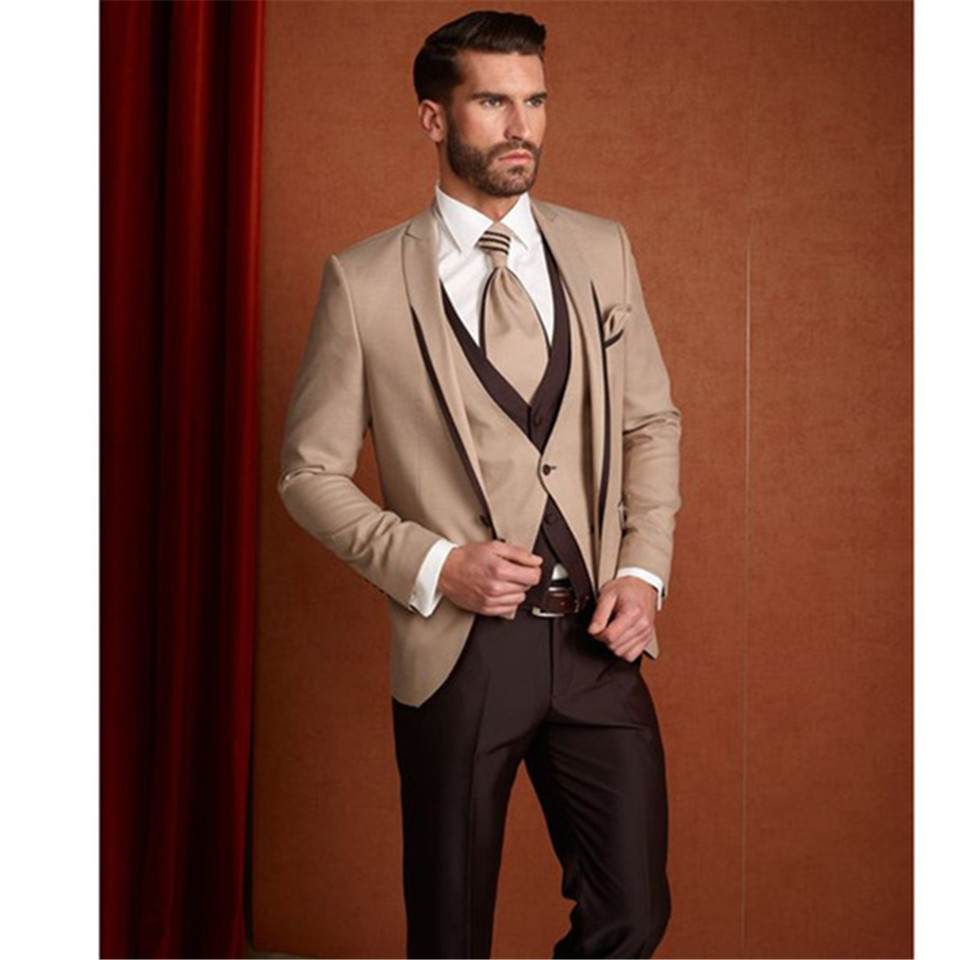 New Classic Men's Suit Smolking Noivo Terno Slim Fit Easculino Evening Suits For Men Brown Formal Custom Blazer Wedding Prom Tux