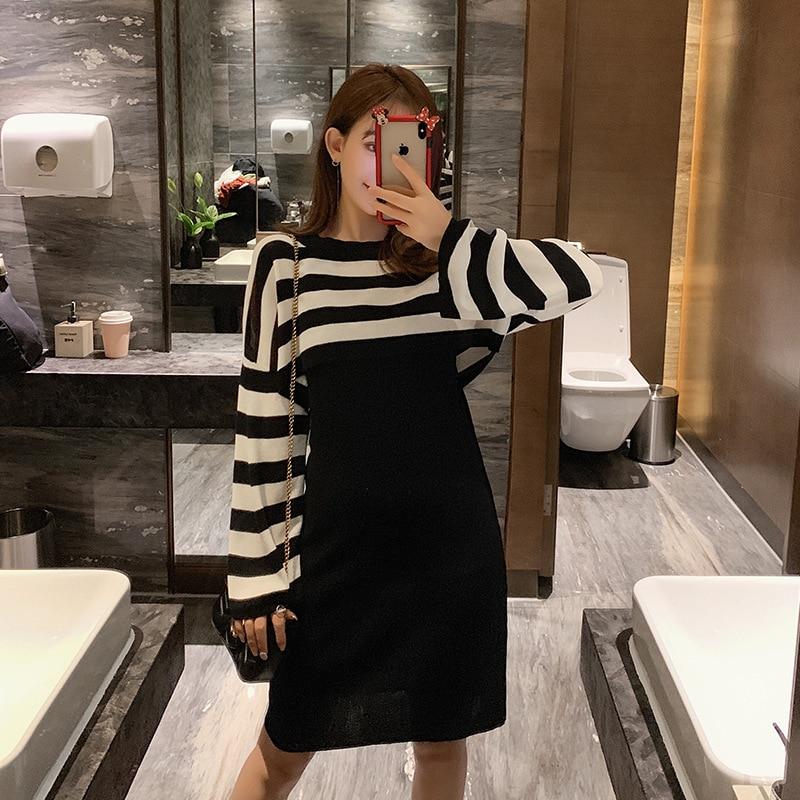 Suit Dress Autumn  New Style Slim Fit Contrast Color Long Sleeve Striped Shirt Vest Skirt Two-Piece Women's F7546