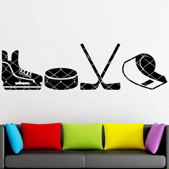 Hockey Wall decal Teamplay Ice Sport svg Washer Fan Hockey stick Hockey tools Wall Sticker for Room Decor Art Vinyl Decal B243 1