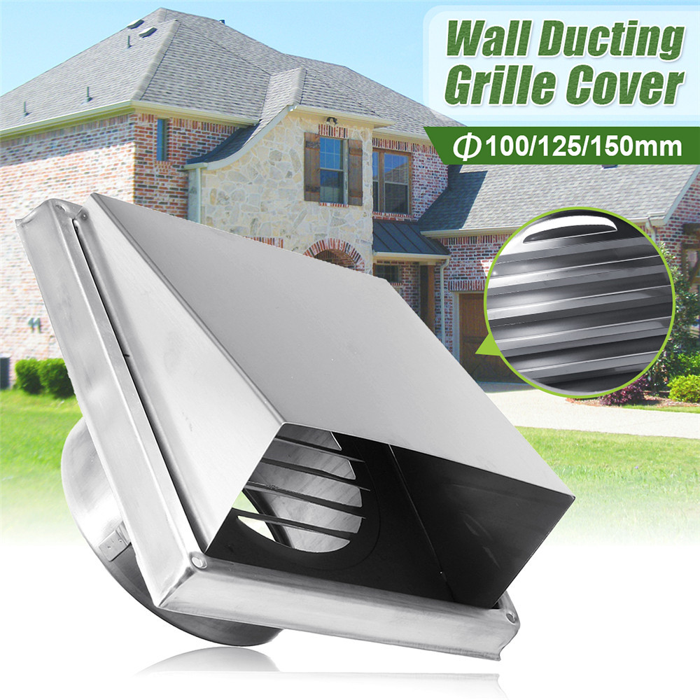 304 Stainless Steel Wall Air Vent Extract Valve Grille Ducting Cover Air Ventilation Outlet 100/125/150mm Air Vent Ventilator