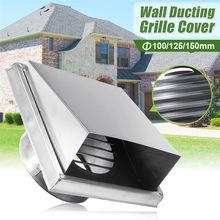 Válvula de extracción de aire de pared, rejilla de acero inoxidable 304, cubierta de ventilación, salida de aire de 100/125/150mm