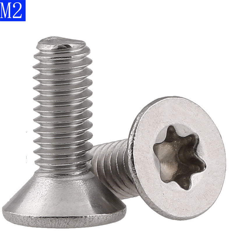 M2 x 0.4 2mm Flat Head Torx Security Machine Screws - A2 304 Stainless Steel