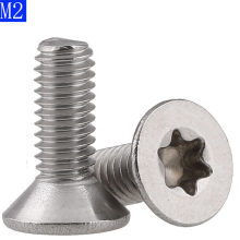 M2 x 0.4 2mm Flat Head Torx Security Machine Screws - A2 304 Stainless Steel