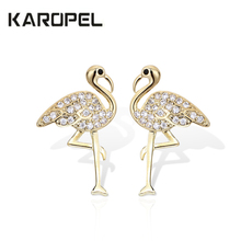 Cute Korean Female Ladies Flamingo Zircon Crystal Stud Earrings Animal For Women Vintage Stone