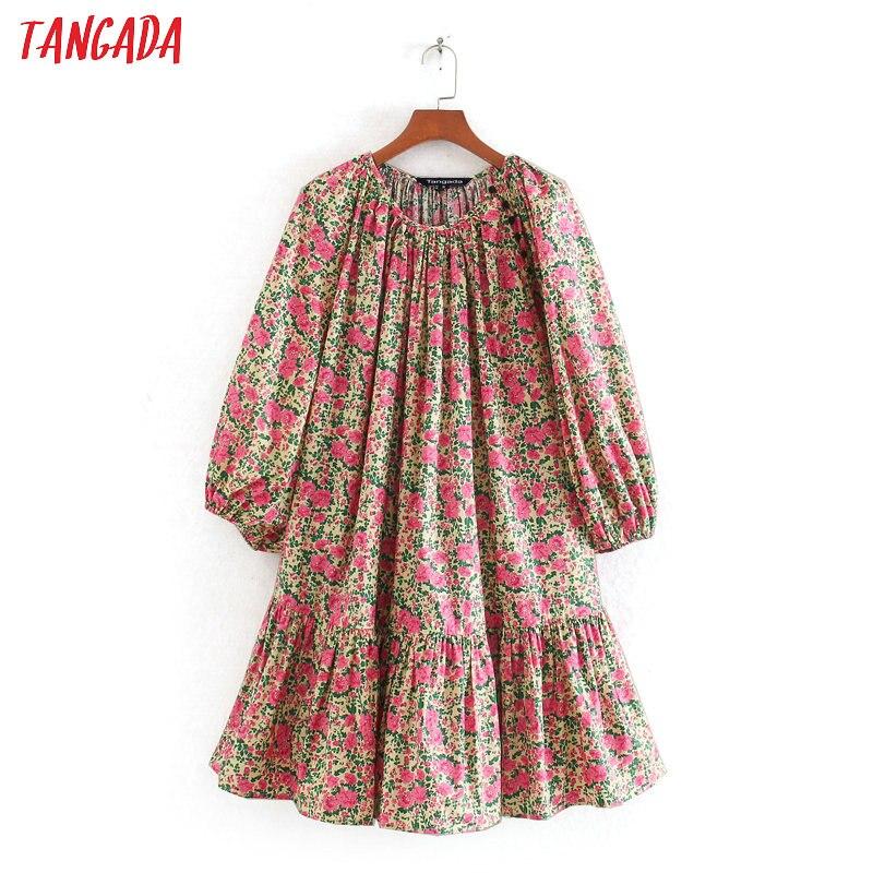 Tangada 2020 Fashion Women Flowers Print Mini Dress Puff Short Sleeve Buttons Ladies Vintage Summer Short Dress Vestidos CE222