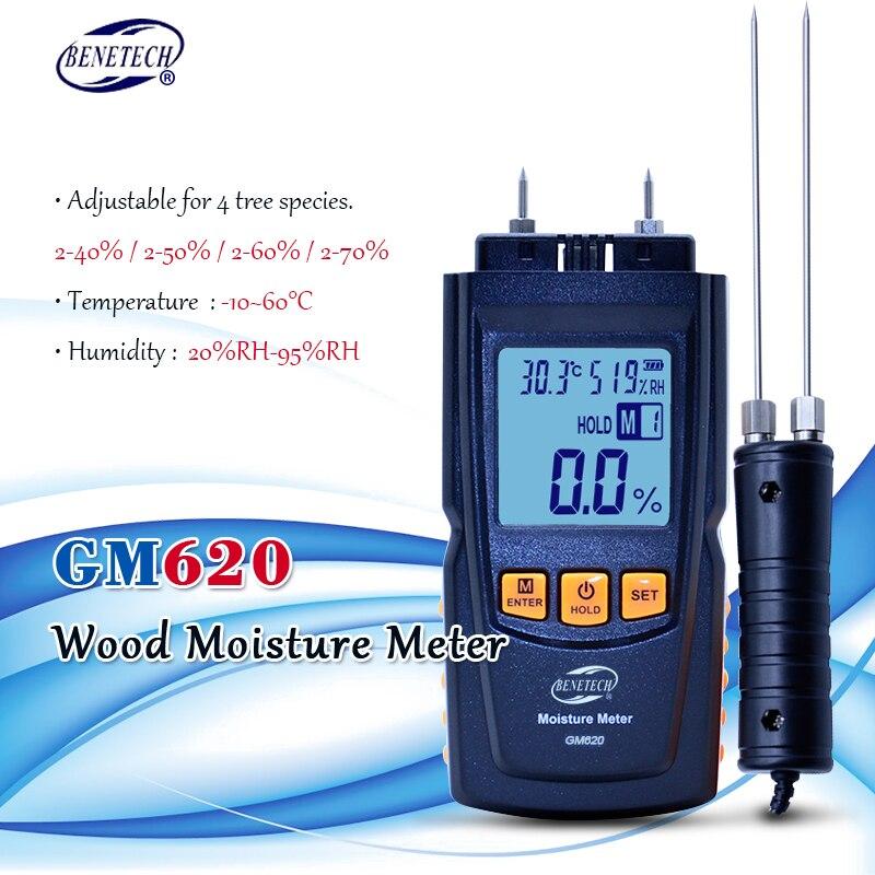 Numérique LCD affichage bois humidimètre 2 ~ 70% humidité testeur bois humide détecteur portable bois humidimètre GM620