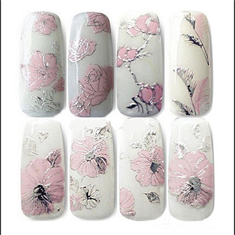 AliExpress Ebey Hot Sales Manicure Gold Foil Stickers 3D Nail Metal Fully Flower Stickers With Gum Relief Pink