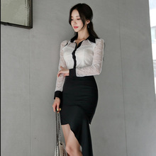 2019 Autumn Contrast White Two Piece Set Long Sleeve Lace Patchwork Blouse and Asymmetrical Mini Skirt Ladies Office Work Suit цена 2017