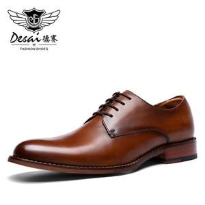 Image 3 - Desai couro genuíno vermelho sapatos masculinos sapatos de negócios para homem marca calçados masculinos sapatos casuais clássico 2019