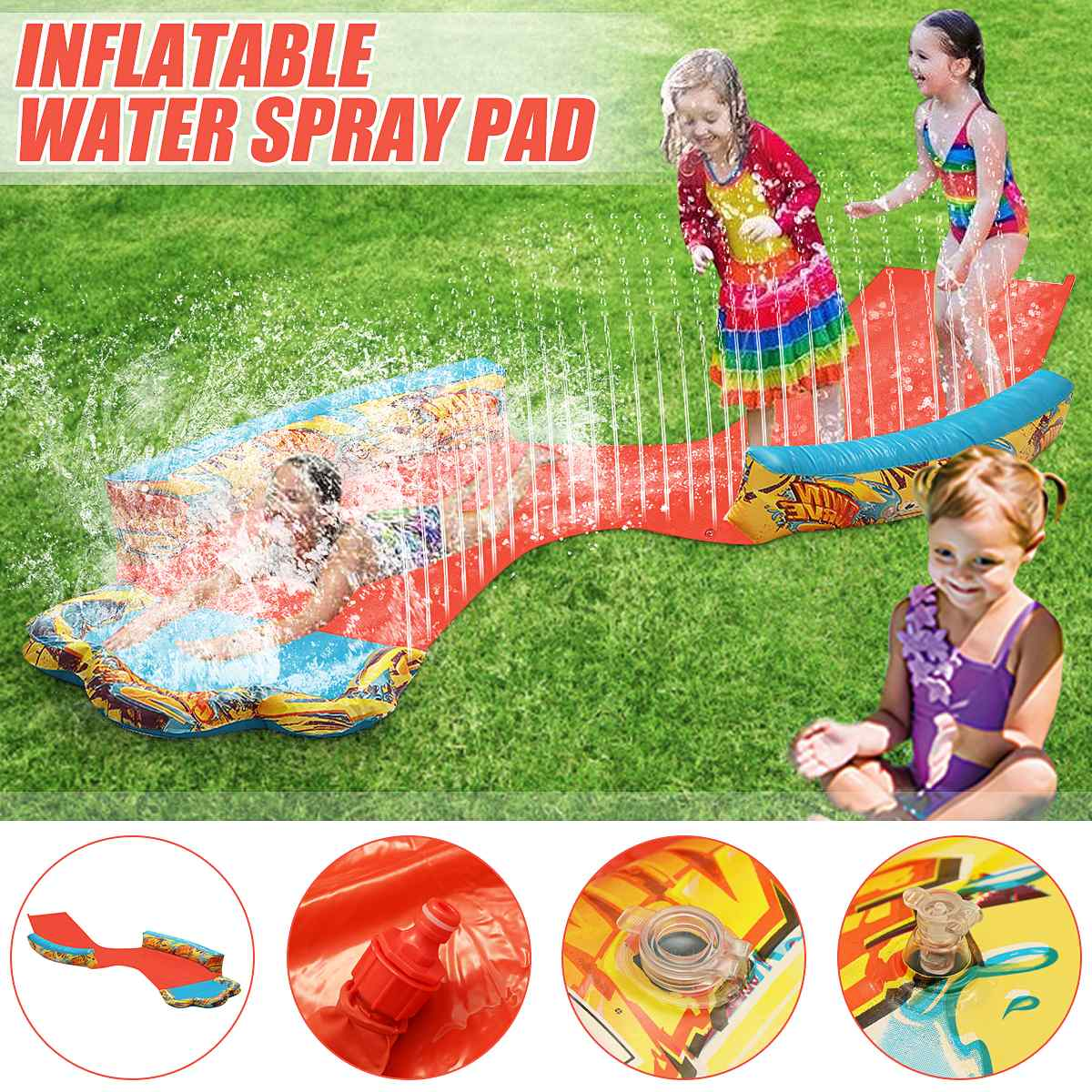 New 480cm Inflatable Water Lawn Slide Water Spray Kids Adult Toys Outdoor Swimming Pool Accessories Inflatable Summer Games Toy