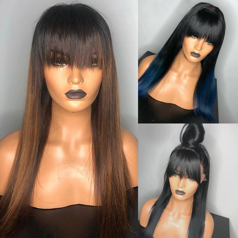 Eversilky Ombre Blue 13x4 Lace Front Human Hair Wig With Bang Wig  Brown Color Straight Brazilian Remy With Baby Hair Fringe Wig