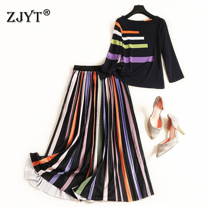 High Street Fashion Casual Two Piece Outfits 2019 New Autumn Winter Suits Women Striped Pullover Knit Top And Pleated Skirt Sets
