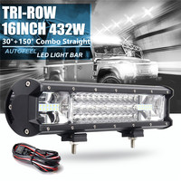 Hot 432W Led Light Bar Flood Spot light 16inch 7D 12/24V Car Work Light for SUV ATV Off road 4X4 4WD Driving Lamp with Wire Kit