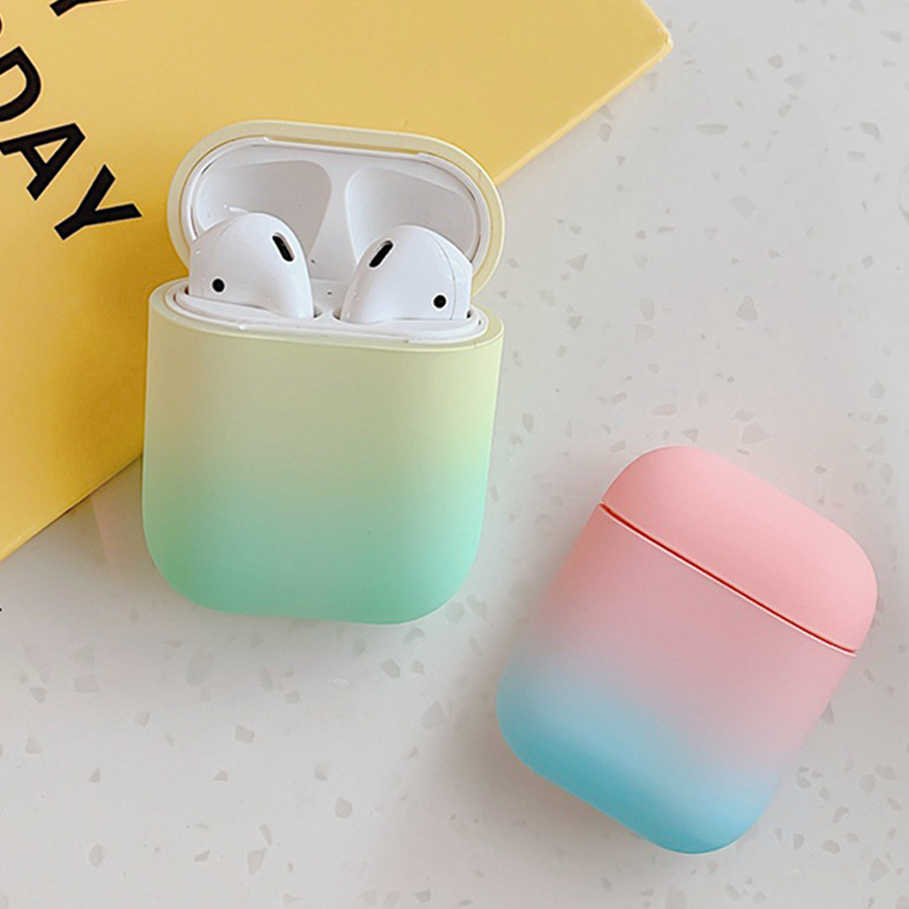For Airpods 1 2 Case Gradient Rainbow Earphone Case Plastic Hard