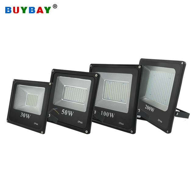 BUYBAY Brand LED Flood Light Outdoor reflector led 200W 100W 50W 30W Led projector light AC 220V Waterproof Floodlight exterior