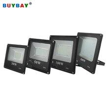 Buybay luz para piscina, led, refletor para áreas externas, 200w, 100w, 50w, 30w, ac holofote 220v à prova dágua exterior