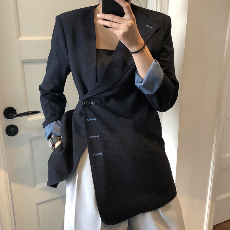 Stylish Women's Jacket Casual Striped Solid Asymmetrical Suit