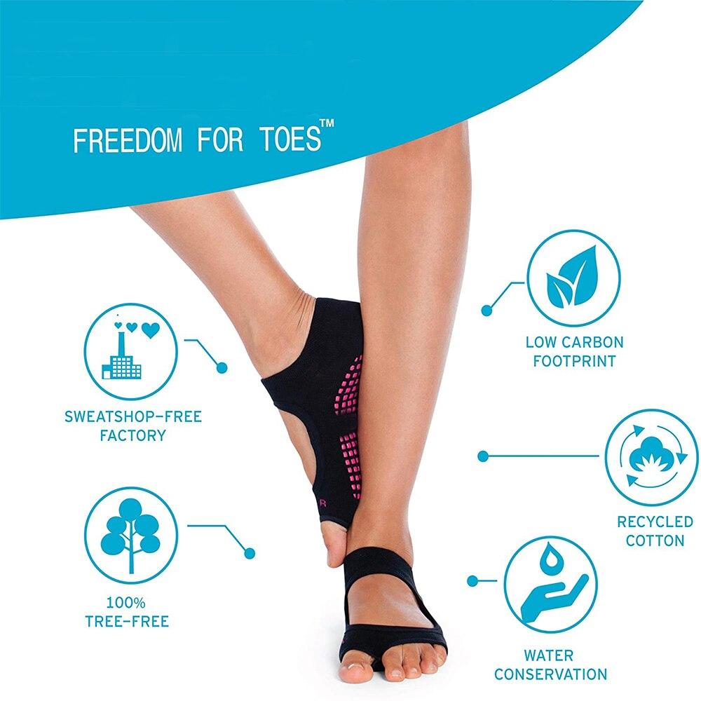 Toeless Non Slip Grip Women Socks for Yoga Barre Pilates Fitness Gym Sports Anti Slip Dance Socks