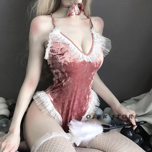 Image 3 - Cute Anime Bunny Girl Cosplay Costume Halloween Women Rose Pink Velvet Sexy Jumpsuit Erotic Roleplay kawaii lingerie for Couple