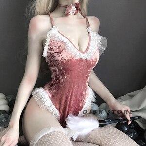 Image 3 - Disfraz de Cosplay de chica conejito para Halloween, mono Sexy de terciopelo rosa para mujer, lencería erótica kawaii para parejas