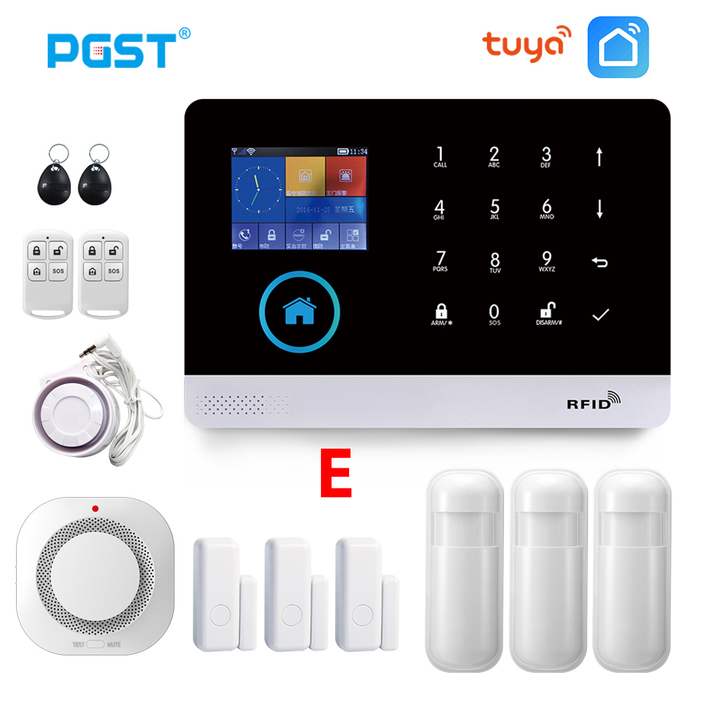 PGST PG103 TUYA WIFI GSM Wireless Home Security With Fire Smoke Detector Alarm System Remote Control Smart Life