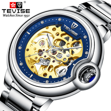 Fashion Brand TEVISE New Men Automatic Mechanical Watch Stainless Steel Skeleton Wristwatch Male Gifts Clock jargar jag6055m4s2 new men automatic fashion dress wristwatch silver color stainless steel band free shipping