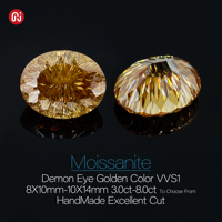 GIGAJEWE Moissanite Customized Demon Eye Cut Golden Color Handmade VVS1 Loose Diamond Test Passed Gemstone For Jewelry Making 2