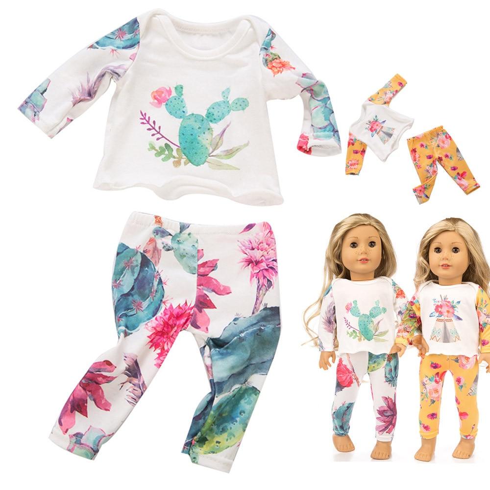 Милый красивый комплект пижамы, Детская одежда для 18 дюймов американская Кукла аксессуар девушки игрушка новая кукла нашего поколения кукл...