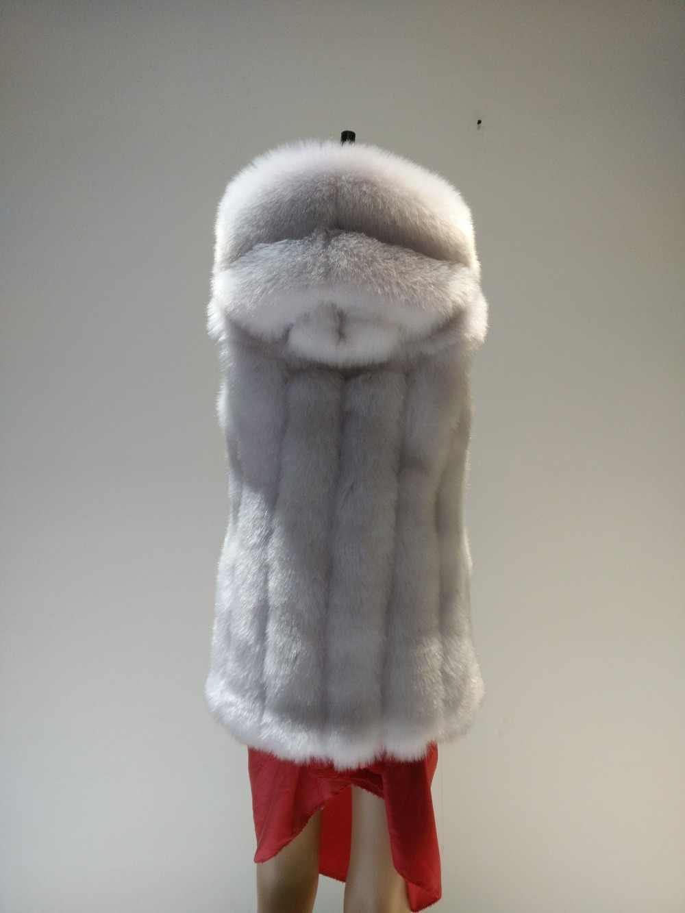 2019 الشتاء فو الفراء سترة النساء شعر سميكة الدافئة الثعلب الفراء صدرية طويلة معطف مقنع قميص فتاة سترة زائد حجم معطف 6XL