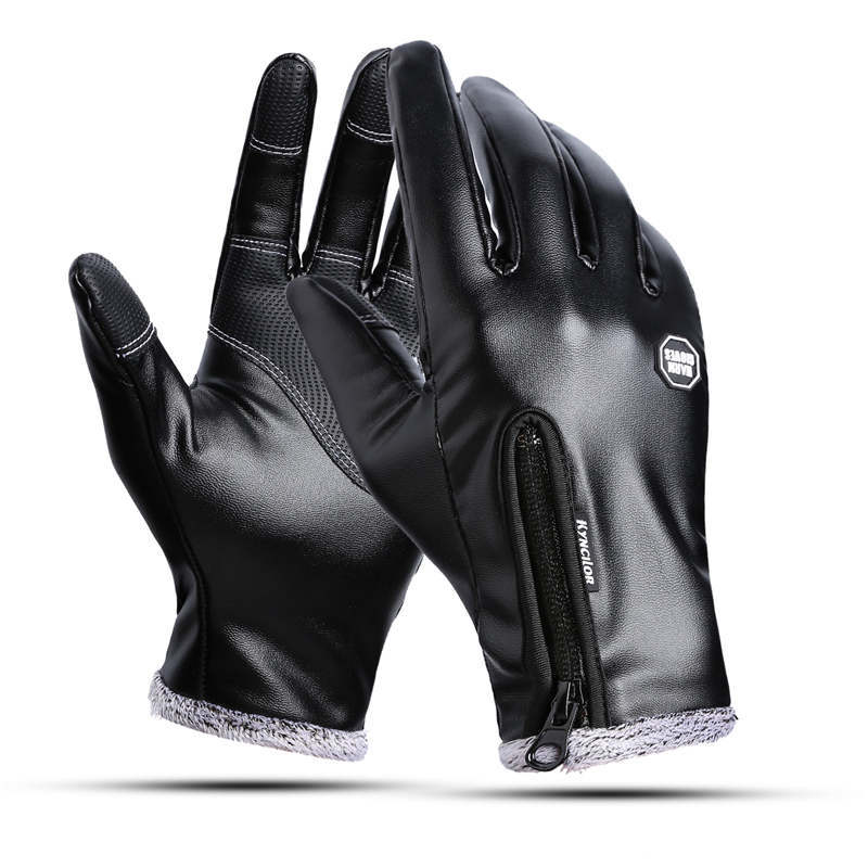Men Fashion Winter Black Faux Leather Gloves Touch Screen Warm Mittens Driving Gloves For Men