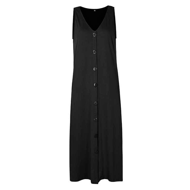 2020 여름 솔리드 맥시 드레스 여성 캐주얼 민소매 v 넥 블랙 싱글 브레스트 하이 웨이스트 버튼 루스 롱 드레스