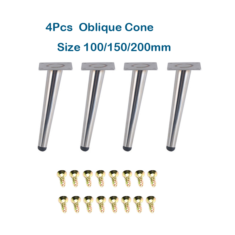 Metal Furniture Table Straight Oblique Cone Legs Hardware Bright Silver Cabinet Foot Coffee Sofa Tea Bar Stool Chair Feet Couch
