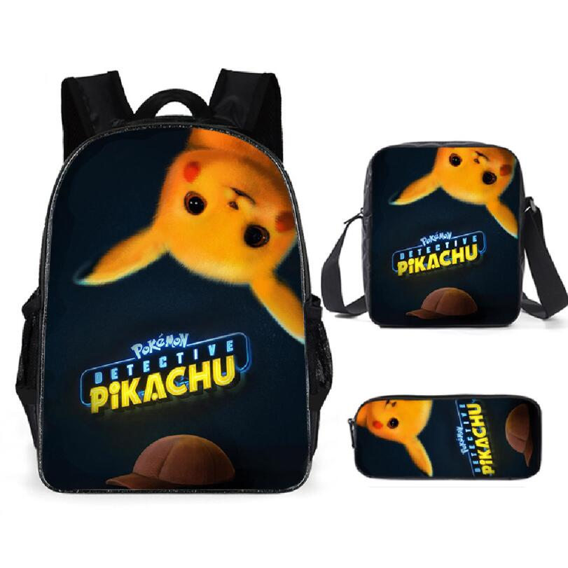 3pcs Children School <font><b>Bags</b></font> Set for Teen Boys Girls Cartoon Pokemon Backpacks Pikachu Book <font><b>Bag</b></font> Kids Shoulder <font><b>Bag</b></font> <font><b>mochila</b></font> <font><b>escolar</b></font> image