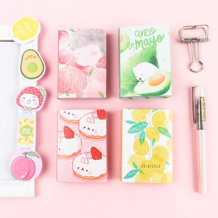Kawaii Sweet Fruit Lemon Peach Avocado Cake 6 Folding Memo Pad N Times Sticky Notes Memo Notepad Bookmark Gift Stationery