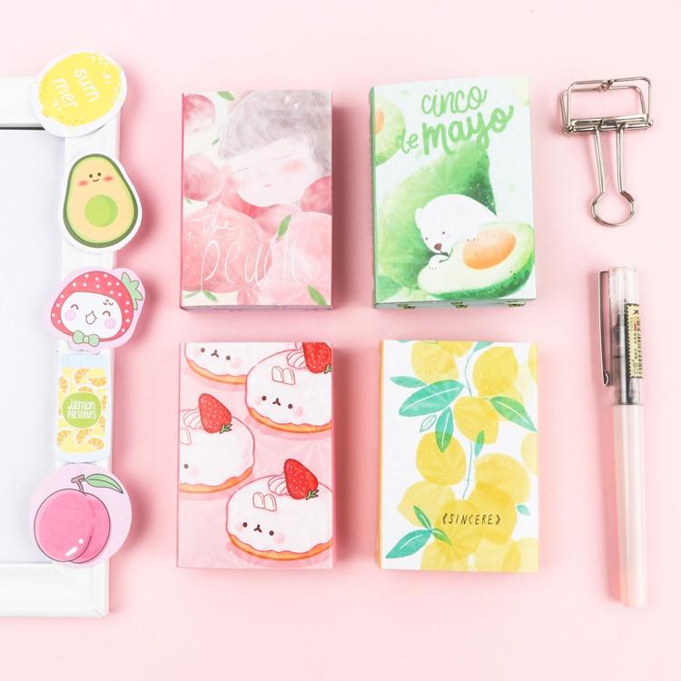 Kawaii Sweet Fruit Lemon Peach Avocado Cake 6 Folding Memo Pad N Times Sticky Notes Memo Notepad Bookmark Gift Stationery