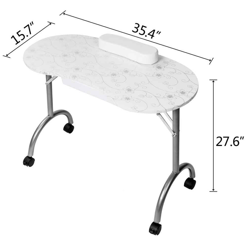 Professionele MDF Manicure Tafel met Arm Rest en Lade Salon Spa Nail Apparatuur Wit Draagbare MDF - 2
