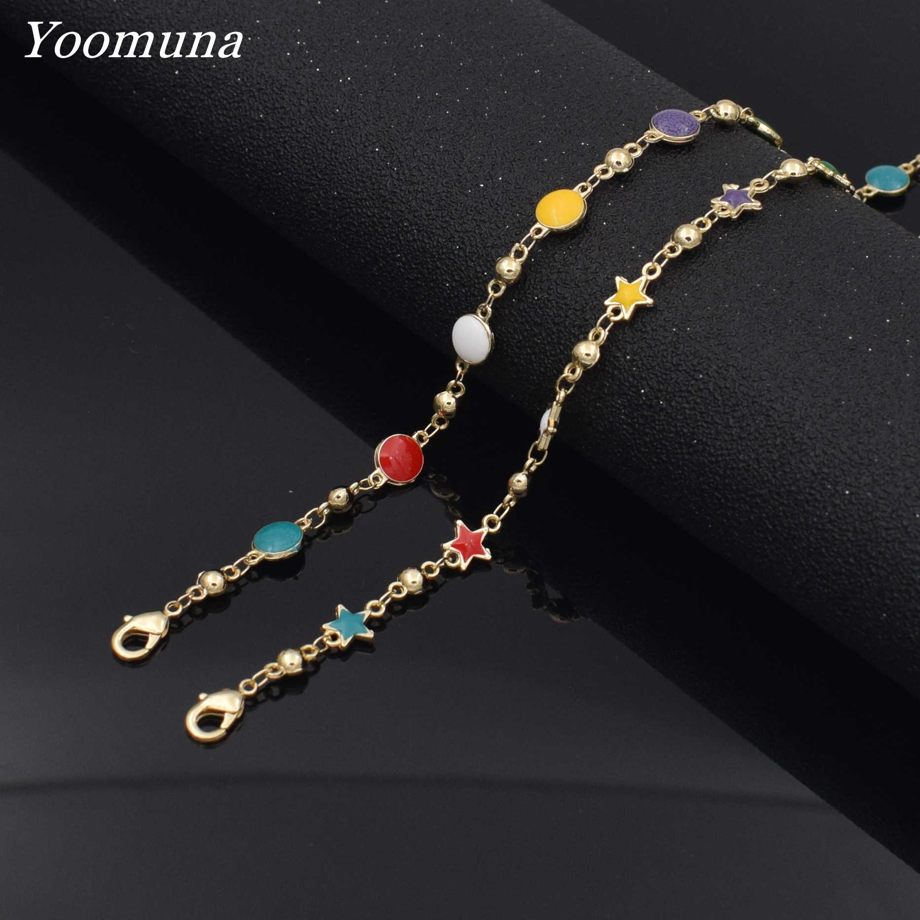 Popular rainbow color cute star CZ link chain choker necklaces for women geometric charm delicate birthday gift necklace jewelry