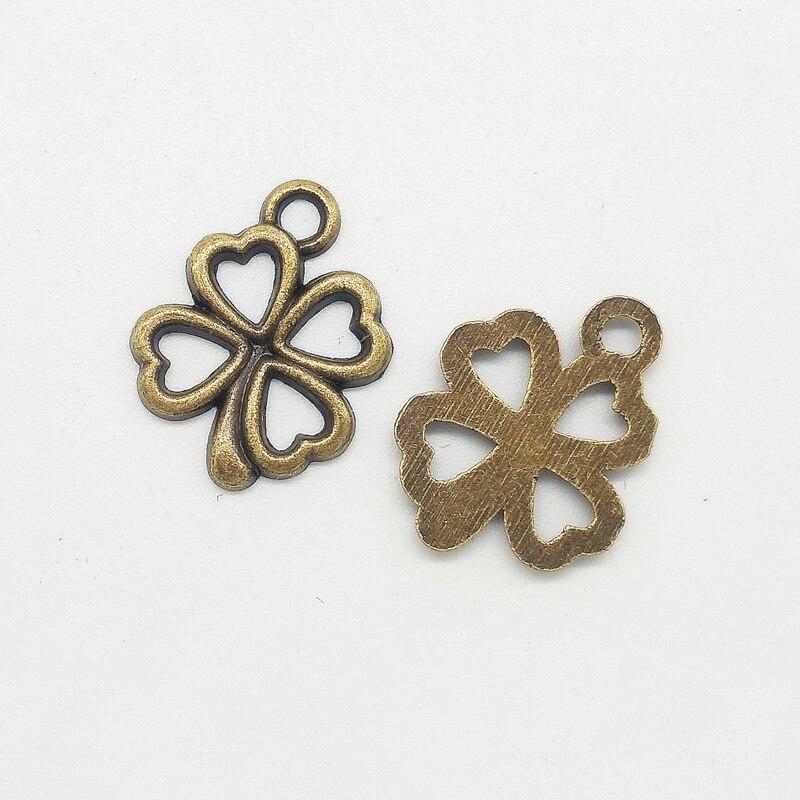 100pcs/lot 14x13mm Antique bronze Pendant Flower Connectors Charms DIY Jewelry Making Necklace Bracelet Anklet Jewelry Findings