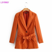LDYRWQY spring and summer new European and American women's fashion solid color single buckle closed waist strap one-piece suit
