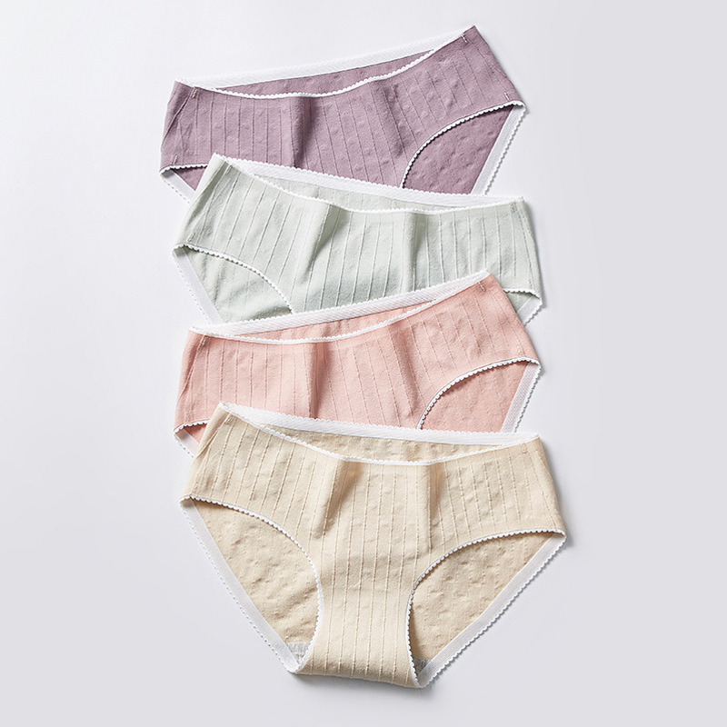 New cotton antibacterial underwear female vertical pattern jacquard 100% seamless ladies unde