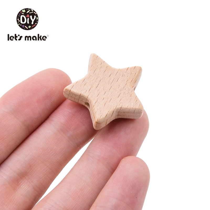 Let's Make Baby Teether Wooden Beads BPA Free Wholesale 4-6 Months Cartoon 10pcs Star DIY Accessories Teething  Wooden Tiny Rod