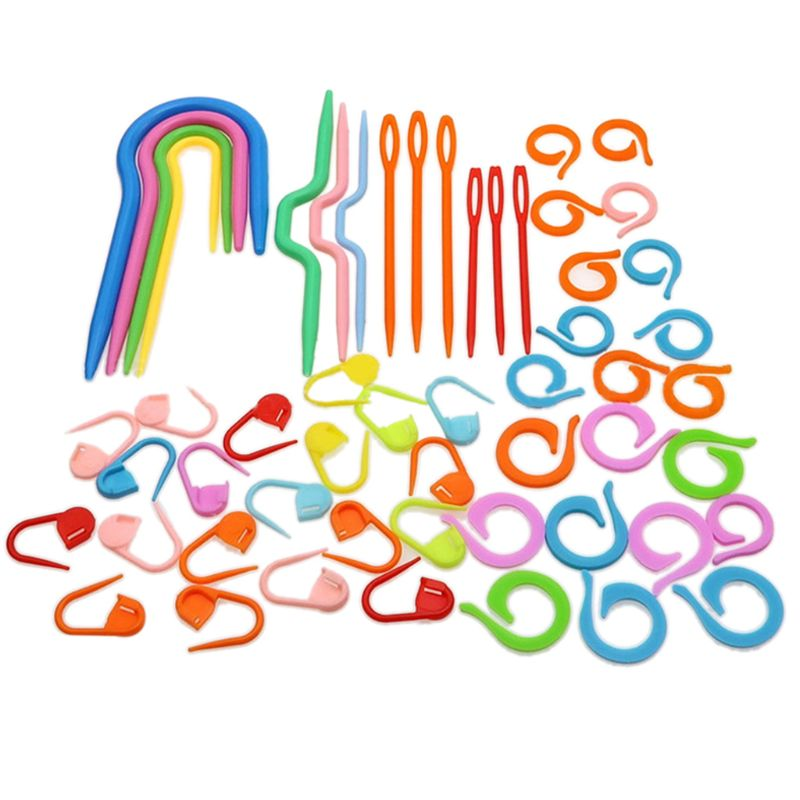 53Pcs Plastic Crochet Hooks Stitch Markers Counter Knitting Needles Set DIY Craft Crossstitch Tool Sewing Accessories