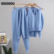 Gigogou女性シックな3個セット衣装ニット固体ラウンジスーツカーディガン + ジョガーパンツ + ノースリーブタンクトップ