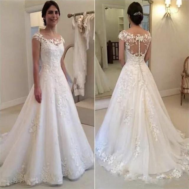 New Vestido de Noiva Cap Sleeves O-Neck A-Line Wedding Dress 2021 Illusio Through Zipper Button Back Bridal Gown robe de mariee 1