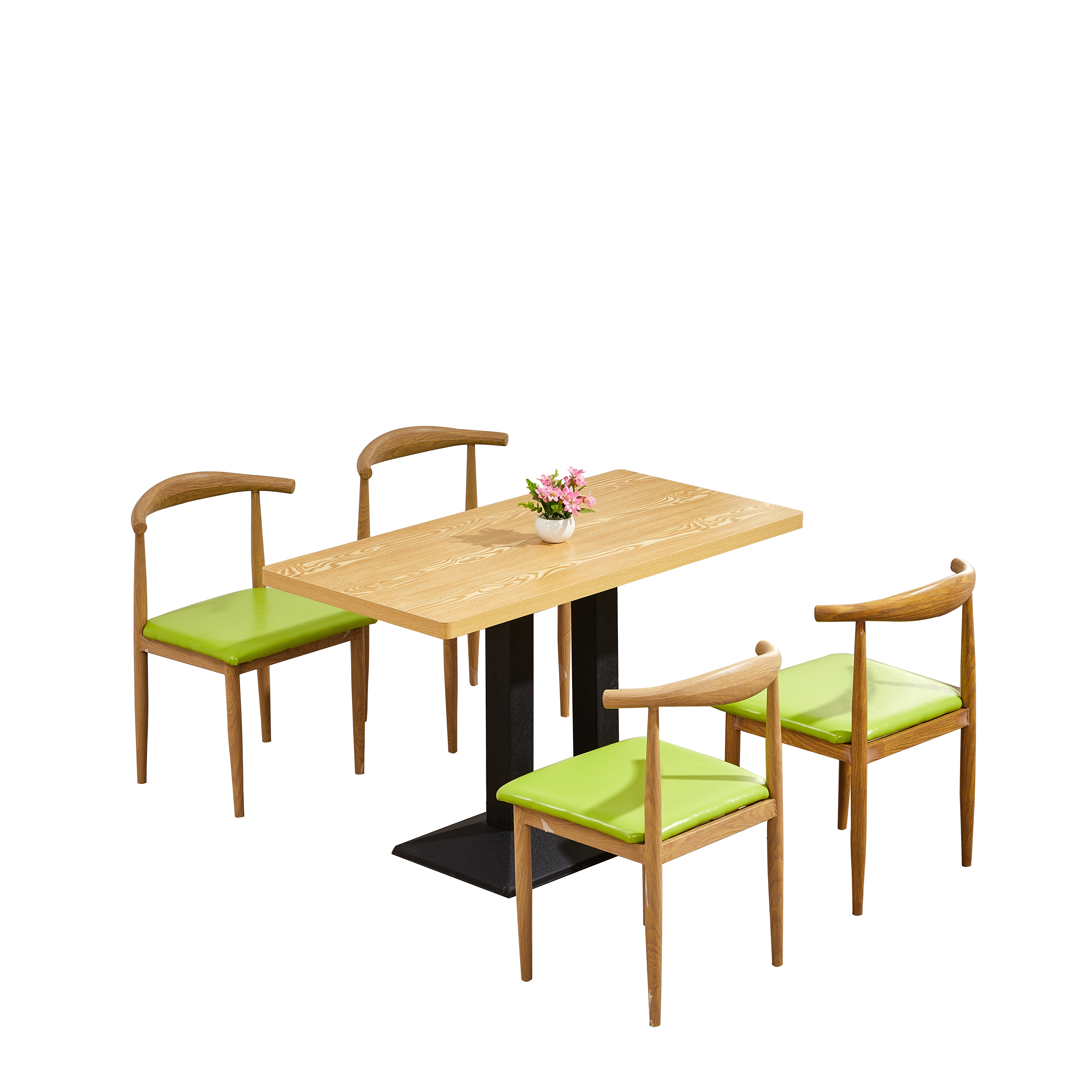 Fast Food Table And Chair Combination Snack Bar Cafe Restaurant Tea Shop Dining    Imitation Solid Wood Iron Horn C