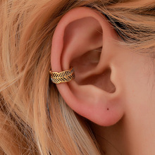 2019 new hot Boho style retro metal Leaf earrings simple no ear hole  bone clip ethnic wind leaf fashion jewelry