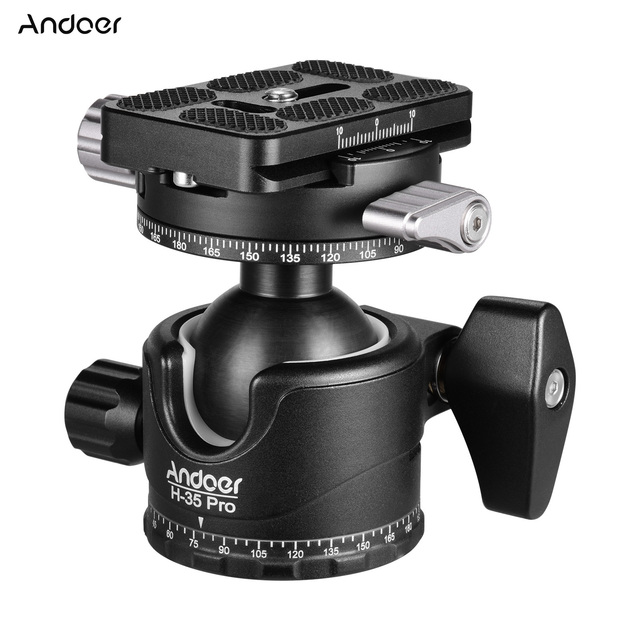 Andoer H 35 Pro Ball Head Tripod Mount Adapter Low Gravity Center with Dual Panoramic Scale U Groove Tripod Head for Camera