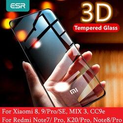 Ochraniacz ekranu ESR do Xiaomi Mi 8 9 Pro SE CC9e 3D pełna osłona chroni przed niebieskim promieniowaniem szkło hartowane do Redmi Note 7 8 K20 Pro