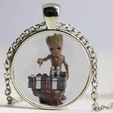 Flowerpot Baby Groot Dancing Necklace Plant Flower Pot Groot Guardians of the Galaxy Pendant Crystal Glass For Women Girls Gifts(China)