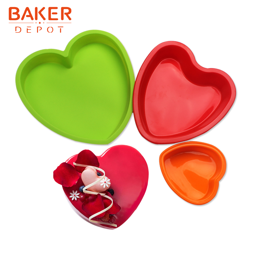 <font><b>BAKER</b></font> <font><b>DEPOT</b></font> Silicone Mold for Cake heart cake pastry baking form Large Cakes bread bakeware cupcake tool pizza pan diy Birthday image